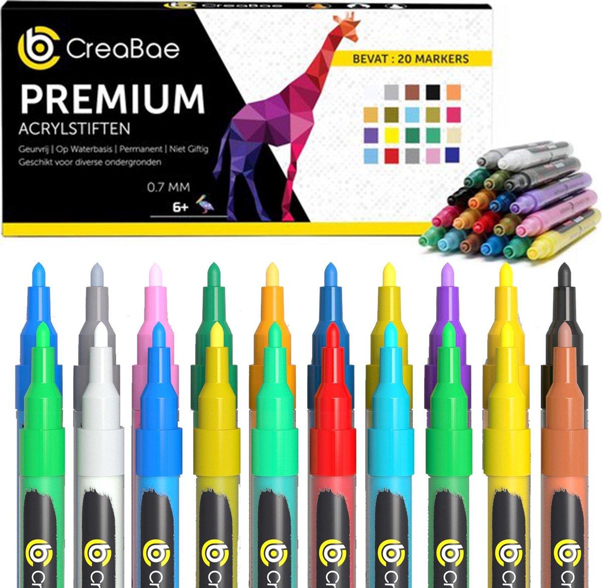 Creabae - Happy Stone Acryl Stiften 0.7 MM -  Premium Acrylstiften Voor Stenen Schilderen - 20 Kleuren - Tekenset - Happy Sto...