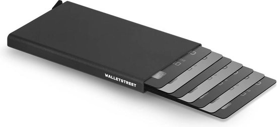 Walletstreet Uitschuifbare Pasjeshouder DS Type -  Walletstreet Aluminium Creditcardhouder Card Protector Anti-Skim/ RFID Card Protector 7 Pasjes – Zwart