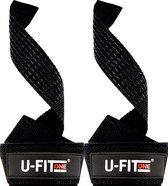 U Fit One® Zwart Lifting Straps - Anti Slip Deadlift Straps - Padded straps - Bodybuilding - Gewichtshef - Powerlifting - Wrist wraps - Fitness - Lifting belt - Gym straps - ufitone