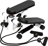 Sportize Stepper Weerstandkabels - Fitness Stepper - Mini stepper fitnessapparaat - Zwart Wit