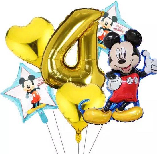 Disney Mickey Mouse Party 6 Stuks Ballonnen  Nummer 4  Opblaasbare Folie Ball Kids Birthday Decoratie Baby Shower Ballon