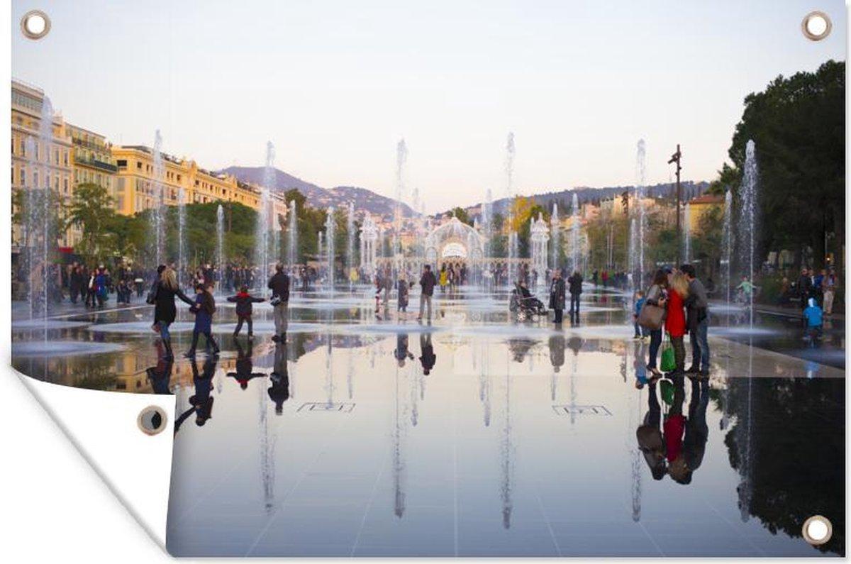 Muurdecoratie Fonteinen - Plein - Nice - 180x120 cm - Tuinposter