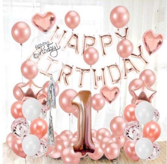 Verjaardag 1 jaar - Ballonnen Set - 1 Jaar Meisje - Feestversiering - Decoratie - Rose/Gold