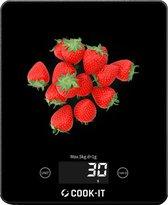 COOK-IT - Keukenweegschaal Digitaal Precisie - Weegschaal Keuken - Gehard Glas - Incl Batterijen - Met Tarra Functie - Zwart - Media Evolution®