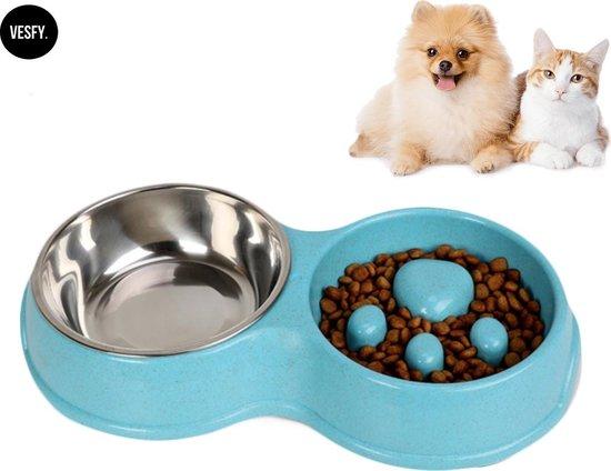 VESFY Anti-schrok voerbak - Rustiger en gezonder te eten- Voerbak kat - Voerbak hond- gemaakt van milieuvriendelijke materialen, Antislip- Geschikt voor Kleine Honden en Katten - Dubbele voerbak- Dubbele Voerbak Kat - Drinkbak Hond & Kat- Blauw
