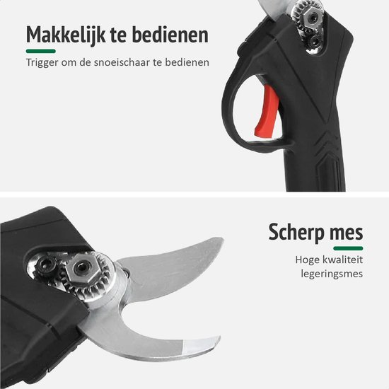 Foumt Accu Snoeischaar SS-1 - Elektrische Snoeischaar – Elektrische heggenschaar – Snoeischaar - Mini Kettingzaag - Inclusief Koffer - Extra Accu - Zwart