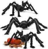 The Twiddlers - 3 Grote zwarte enge spinnen - 75CM diameter - Enge realistische harige spin voor binnen en buiten decor - Perfect voor Halloween feesten - Spookachtige huisdecoratie en spookachtig entertainment