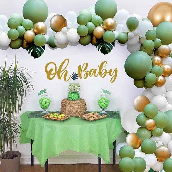 Ballonnenboog - Zinaps Groene Ballon Garland Arch Kit, Avocado Groen Wit Gouden Latex Ballonnen, Ideaal voor Baby Shower, Verjaardag, Bruiloft, Tropische Partij of Jungle Safari Thema Achtergrond Party Decoratie -  (WK 02124)