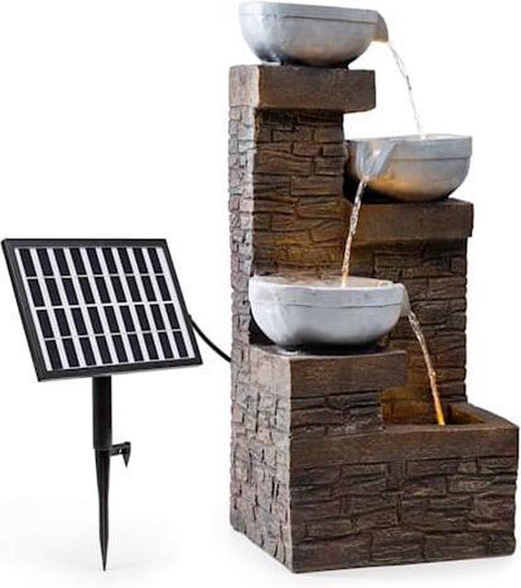 Blumfeldt Fez zonne-energie fontein - tuinfontein - LED- verlichting - 34 x 76 x 36 cm (BxHxD) - voor binnen en buiten - Polyresin