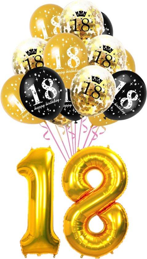 Ballon set 18 jaar - met 15 latex ballonnen - Goud - Zwart - verjaardag ballonnen - 1 meter