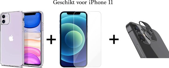 iPhone 11 hoesje transparant siliconen case hoesjes cover hoes - 1x iPhone 11 Screenprotector + 1x Camera Lens Screenprotector