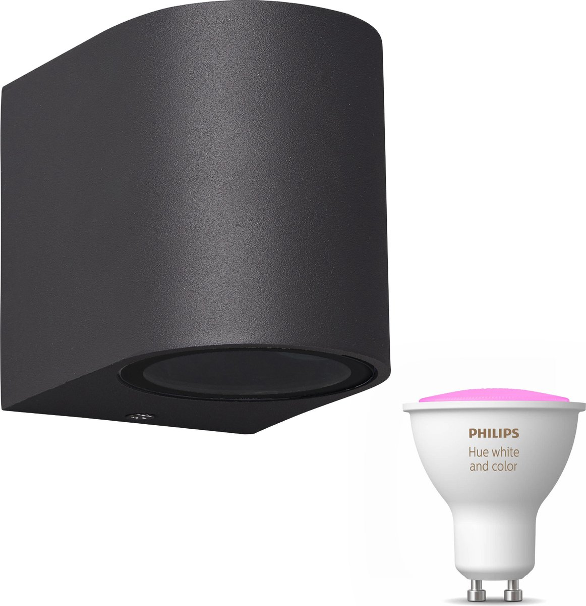 Mantra Kandachu wandlamp rond - antraciet - 1 lichtpunt - Incl. Philips Hue White & Color Ambiance Gu10 (geschikt voor buitengebruik)