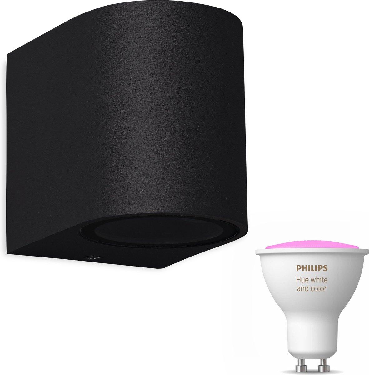 Mantra Kandachu wandlamp rond - zwart - 1 lichtpunt - Incl. Philips Hue White & Color Ambiance Gu10 (geschikt voor buitengebruik)