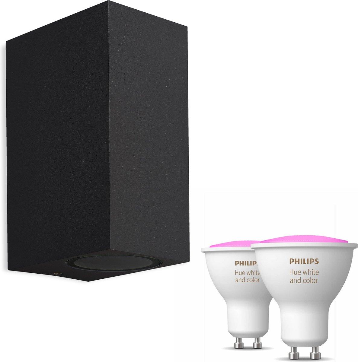 Mantra Kandachu wandlamp rechthoekig - zwart - 2 lichtpunten - Incl. Philips Hue White & Color Ambiance Gu10 (geschikt voor buitengebruik)