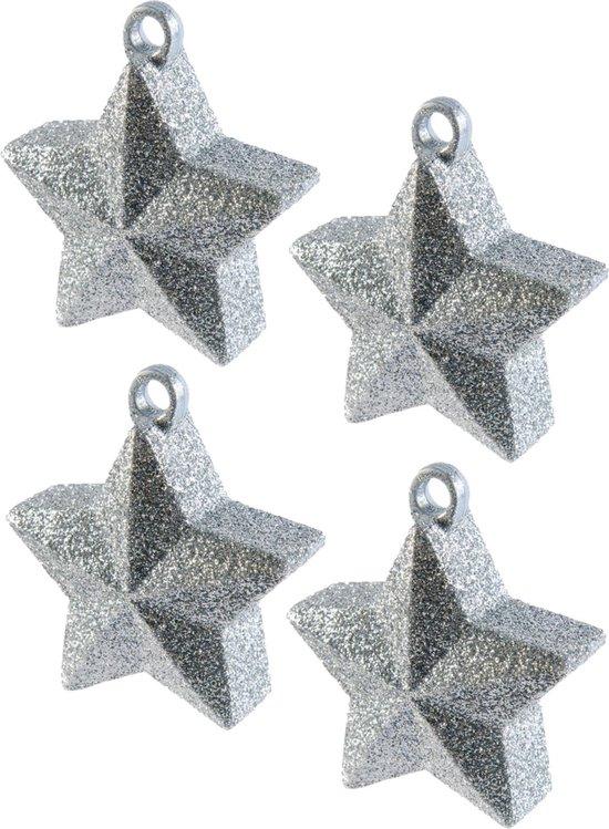 4x stuks ballon gewichtjes zilveren glitter ster