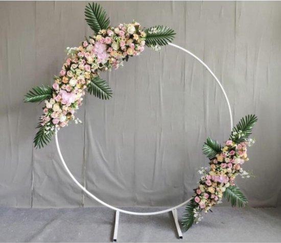 Metalen cirkel backdrop frame - 1 Meter -  Ronde Wedding - Gender Reveal - Babyshower - Ballonnen boog kit - Flower decoration -wit