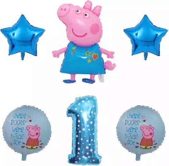 Peppa Pig folie ballonen 6 stuks Decoratie Kinderen Verjaardag Ballon Nummer 1