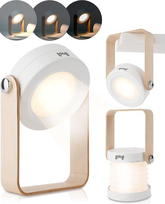 Gologi - 70 UUR+ Draadloos en Uitklapbaar tot Bureaulamp, Nachtlampje of Leeslampje - LED Binnen en Buitenlamp - Dimbaar met Sensor (Wit)