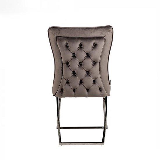 Fluwelen stof eetkamerstoel, gestoffeerde stoel zonder arm leuningen, roestvrije zilveren metalen poten.