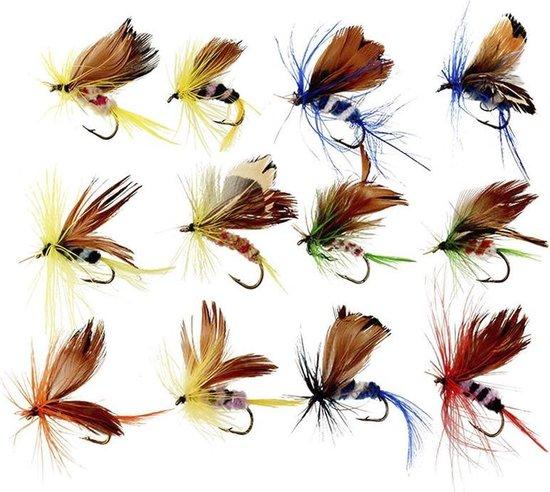 Vliegvissen kunstaas - 12 Stuks - Van alles wat - Vliegvis Materiaal - Vlinder Aas - Hengelsport - Perfect voor baars en forel