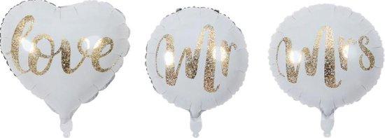 MR & MRS Ballon - Folie - 45cm - Ballon - Set van 3 - Trouwen - Trouw decoratie - Huwelijk Ballonnen - Leeg - Versiering - Bruid - Bruidegom - Love - Bruiloft