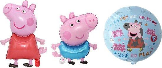 Peppa Pig en George Pig ballonnen -  set van 3 stuks - 74x49 cm - 50x39cm - verjaardag versiering kinderfeestje - Feestpakket - Peppa Big - George Big - Folie ballon -Feest - Leeg -Versiering