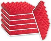 Zelfklevende geluidsisolatie pyramide   Akoestische panelen   Geluidsdemper   Studioschuim   30 x 30 x 5 cm   6 stuks - Rood