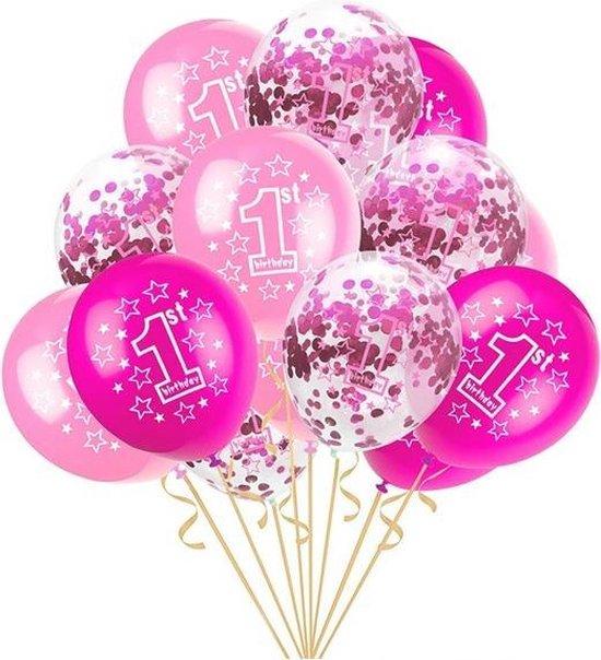 Happy Birthday 1 jaar roze ballonnen set | 1 jaar meisjes verjaardag | 5 Roze confetti ballonnen en 10 roze ballonnen | Baby verjaardag of kinderfeestje