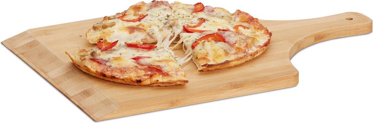 relaxdays pizzaschep 45 cm groot - bamboe - pizzaspatel - broodschep - pizzaplank hout