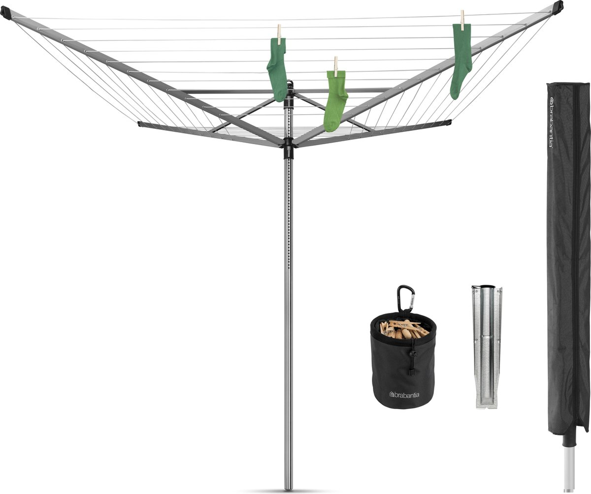 Brabantia Lift-O-Matic Advance Droogmolen met Grondanker, Beschermhoes en Wasknijpertasje - 50 m - M