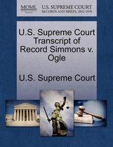 U.S. Supreme Court Transcript of Record Simmons V. Ogle