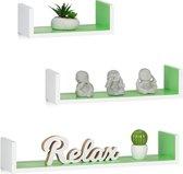 relaxdays wandplank set van 3 - boekenplank modern - wandboard U-vorm - 3 groottes - MDF wit-groen