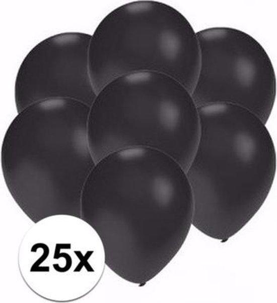 25x Voordelige metallic zwarte ballonnen klein van 13 cm - Feestartikelen en zwarte versieringen