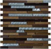 Mozaiek tegel 30x30 bruin goud ziver