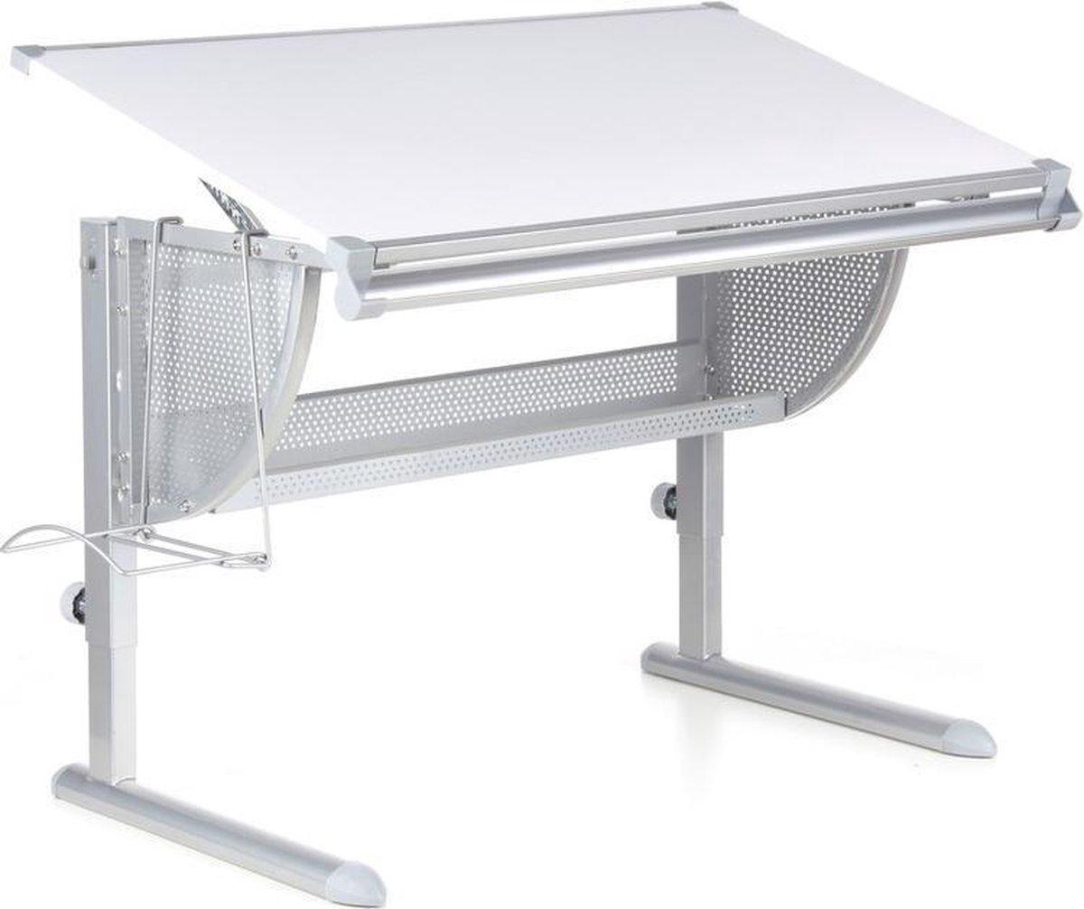 hjh office Nenos - Bureau - Kinderbureau - Verstelbaar in hoogte en hoek - Wit / zilver
