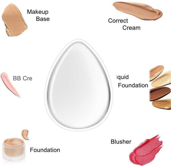 Premium Tweezijdige Make-up Siliconenspons voor Vloeibare Make Up en Poeder – Eivormig – 6x4cm – Wit - Beauty Essentials