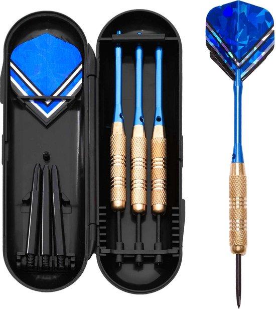 Afbeelding van het spel #DoYourDart - 3x Steeldarts   - VictoryBlue - incl. case + 6 extra flights. Aluminium Shafts, PET flights, koperen barrel - Gewicht darts: 17.5g - goudkleurig