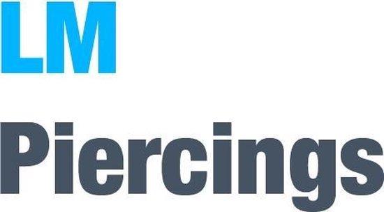 Neuspiercing open ring gold plated steentje wit ©LMPiercings - LMPiercings NL