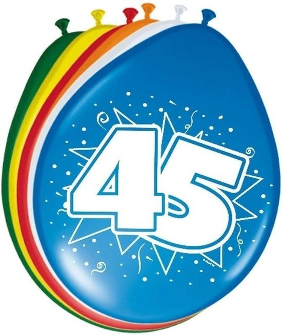 16x stuks Ballonnen versiering 45 jaar