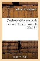 Quelques reflexions sur la censure et sur l'Universite