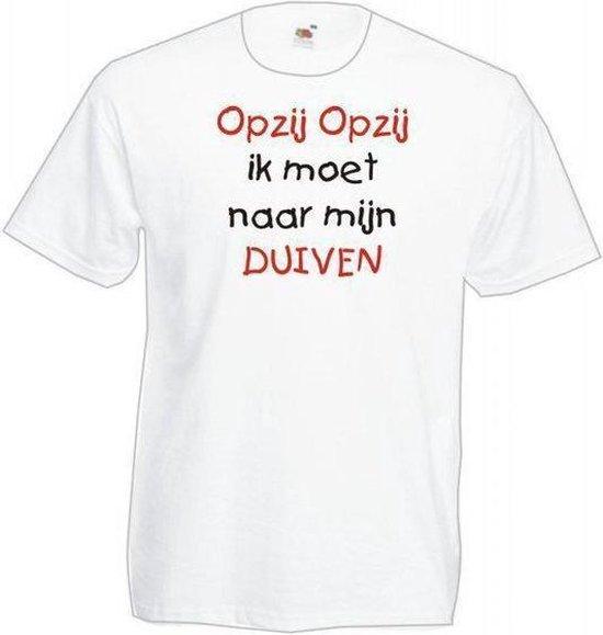 Mijncadeautje Heren T-shirt wit maat M Opzij opzij naar mijn duiven