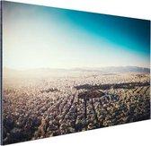 Het uitzicht vanuit de lucht van Athene Aluminium 90x60 cm - Foto print op Aluminium (metaal wanddecoratie)