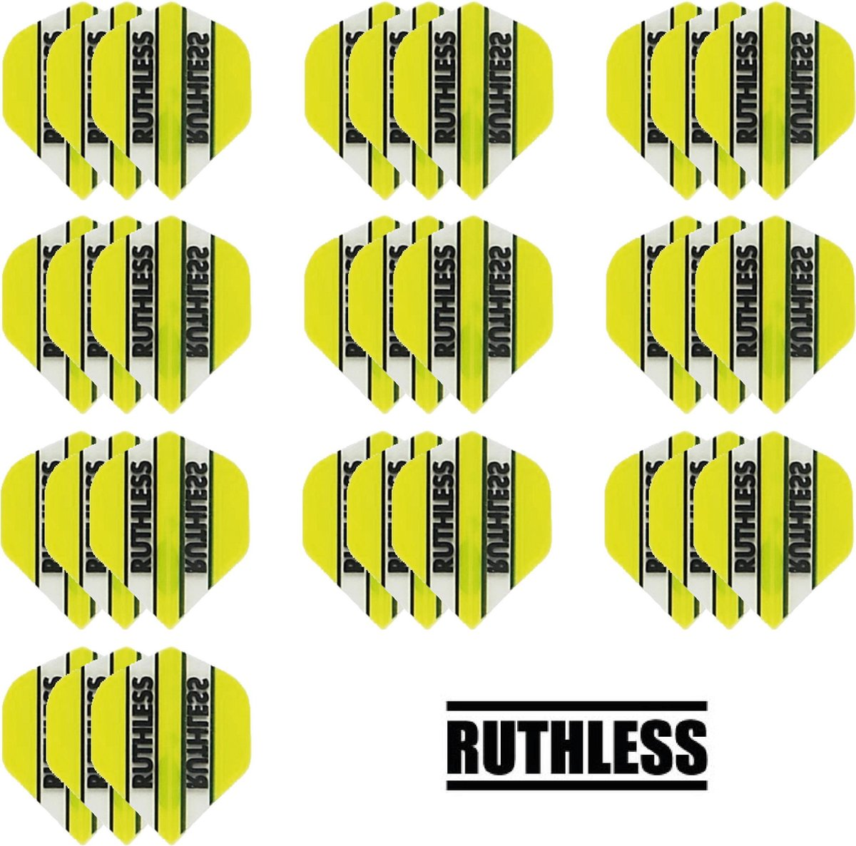 deDartshop 10 Sets (30 stuks) Ruthless flights Multipack - Geel - darts flights
