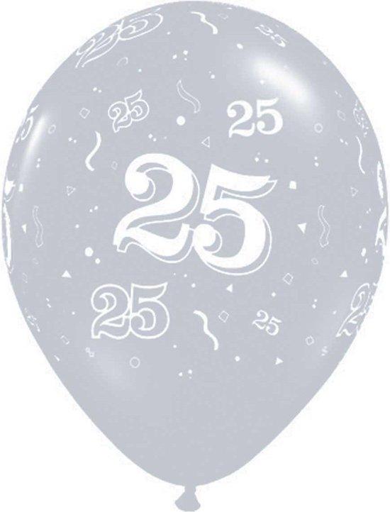 Ballonnen 25 jaar zilverkleurig rondom 25 stuks