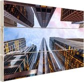 Zonsopgang in Chicago Hout 120x80 cm - Foto print op Hout (Wanddecoratie)