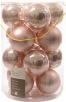 Glas Kerstballen (8cm) Box 16 Stuks Poeder Roze