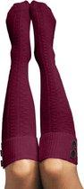Kniekousen Bordeaux Rood met Sierknoopjes Dames Maat 36-40