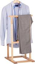 relaxdays dressboy hout - kledingstandaard notenhout - vrijstaande garderobe broekenstang