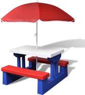 Kinderpicknicktafel met parasol (incl. Fleecedeken) - Multikleur