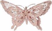 Kerstboomversiering roze glitter vlinder op clip 15 cm